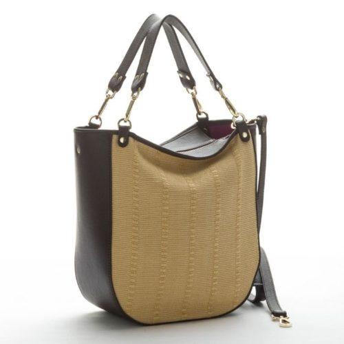 MOIRA Raffia Shoulder Bag With Leather Details Dark Brown