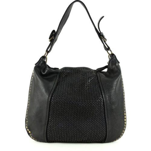 MONICA Shoulder Bag With Woven Panel & Studs – Black