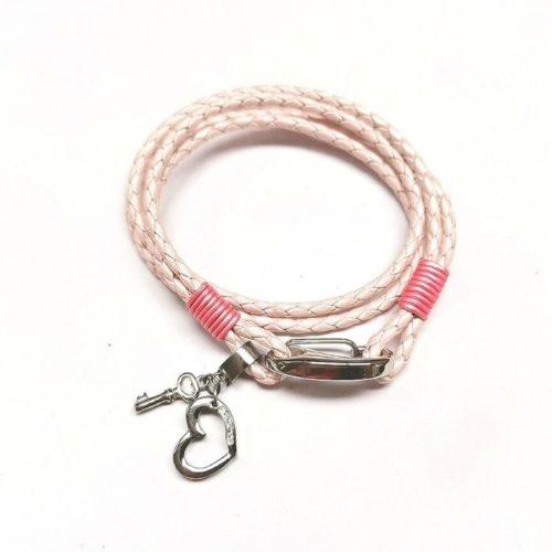 Unique & Co Women's Leather Bracelet With Heart & Key – Metallic Pink
