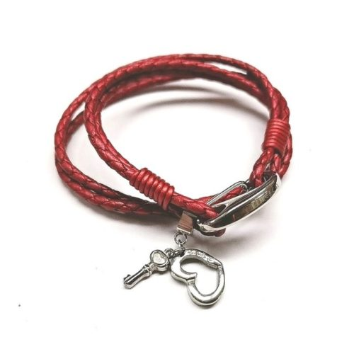 Unique & Co Women's Leather Bracelet With Heart & Key – Red
