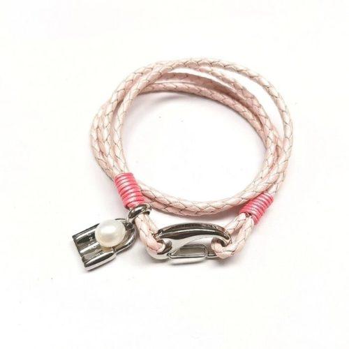 Unique & Co Women's Leather Bracelet With Locket & Pearl – Metallic Pink