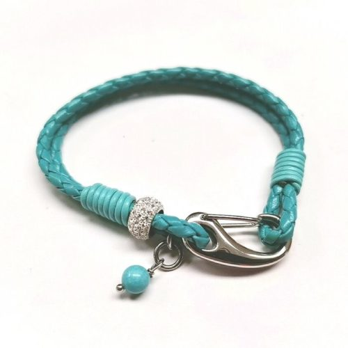 Unique & Co Women's Leather Bracelet With Crystal Detail & Pearl – Turquoise