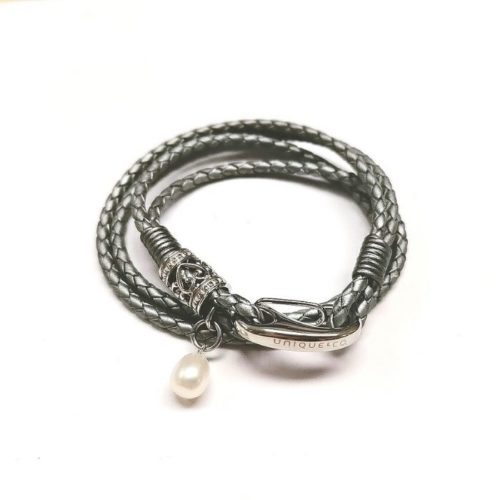 Unique & Co Women's Leather Bracelet With Silver Detail & Pearl – Grey