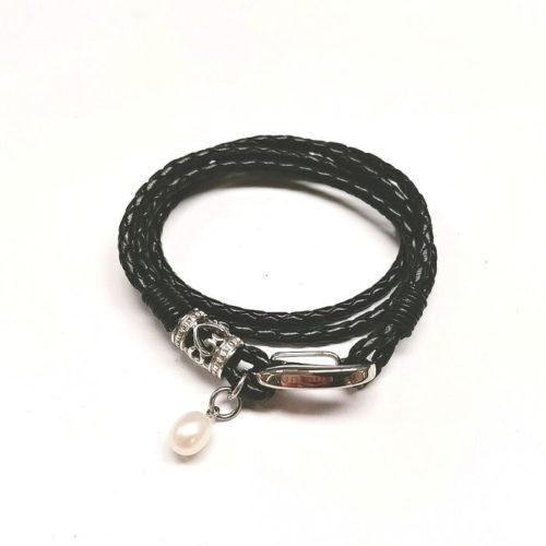 Unique & Co Women's Leather Bracelet With Silver Detail & Pearl – Black