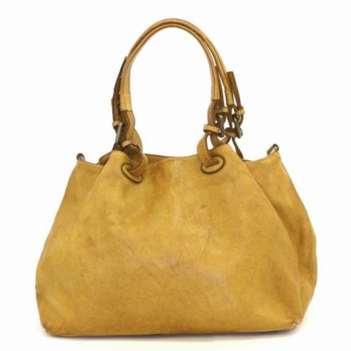 LUCIA Smooth Leather Tote Bag Mustard