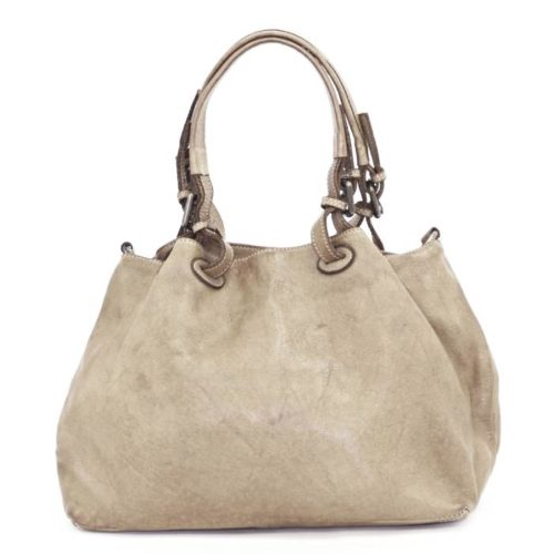 LUCIA Smooth Leather Tote Bag Beige