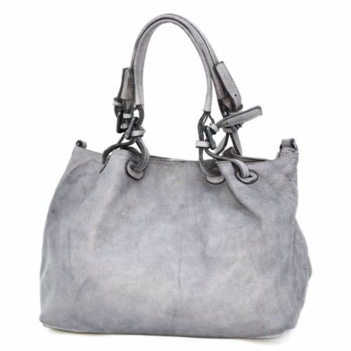 LUCIA Smooth Leather Tote Bag Grey
