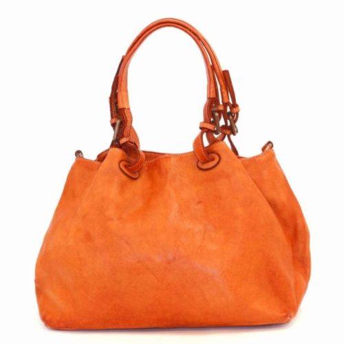 LUCIA Smooth Leather Tote Bag Orange