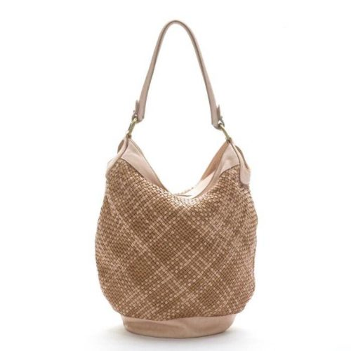GEMMA Woven Bucket Bag Beige