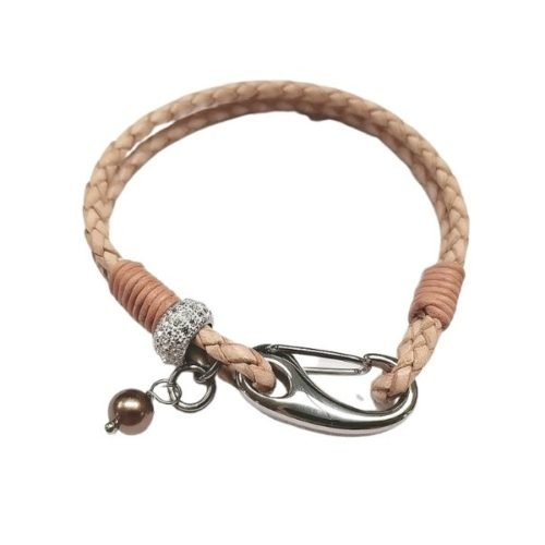 Unique & Co Women's Leather Bracelet With Heart & Pearl – Natural