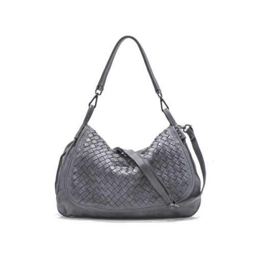 FRANCESCA Woven Flap Bag Dark Grey