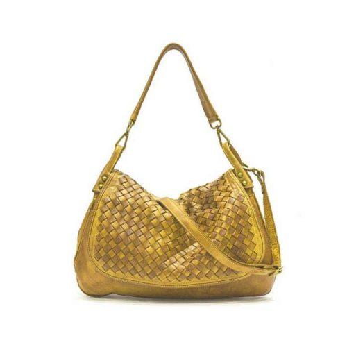 FRANCESCA Woven Flap Bag Mustard