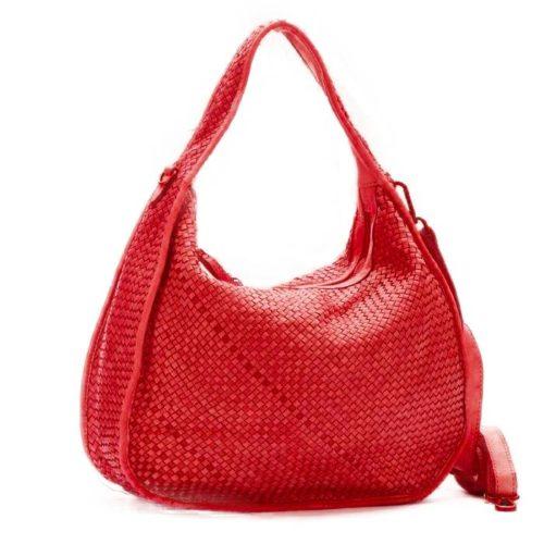 TIFFY Large Woven Shoulder Bag Red