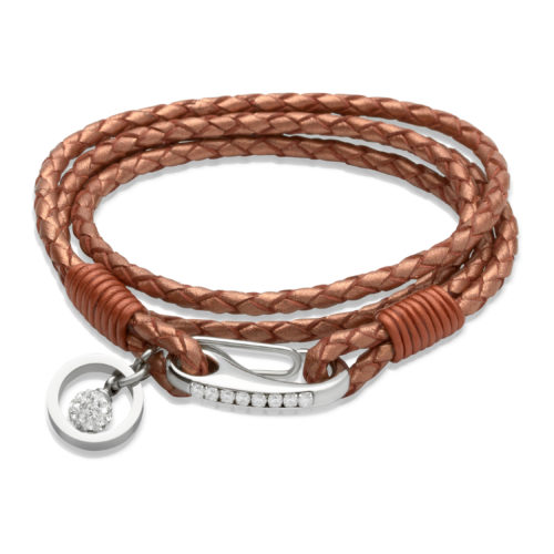 Unique & Co Women's Leather Bracelet With Crystal Ball Charm Copper