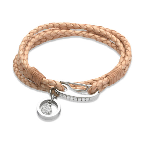 Unique & Co Women's Leather Bracelet With Crystal Ball Charm Natural