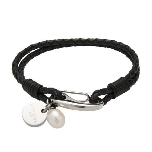 Unique & Co Women's Leather Bracelet Disc & Pearl Black
