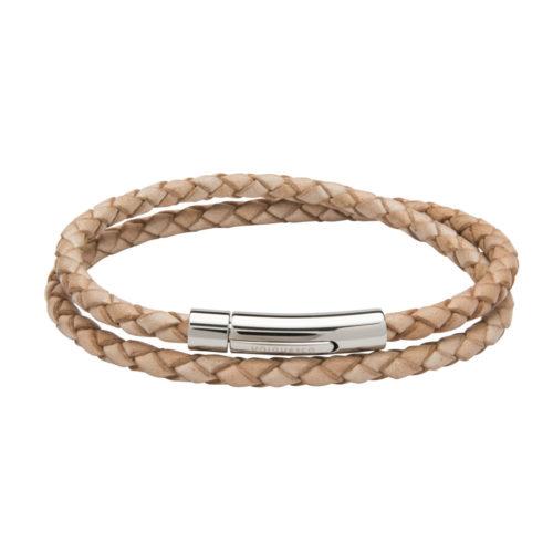 Unique & Co Women's Leather Bracelet With Steel Clasp Natural
