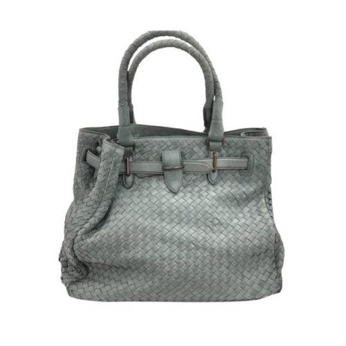 CINZIA Woven Leather Tote Bag Grey