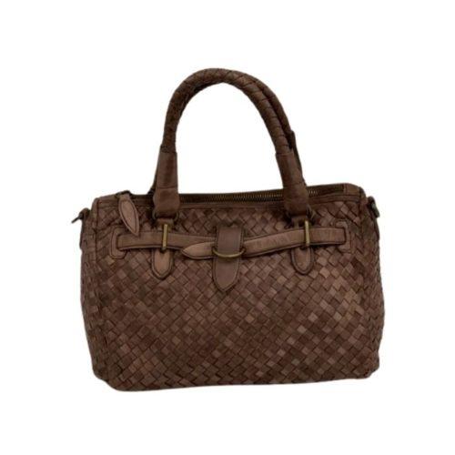 PATRIZIA Woven Leather Hand Bag Dark Brown
