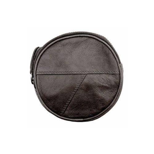 Round Coin Purse With Zip Black