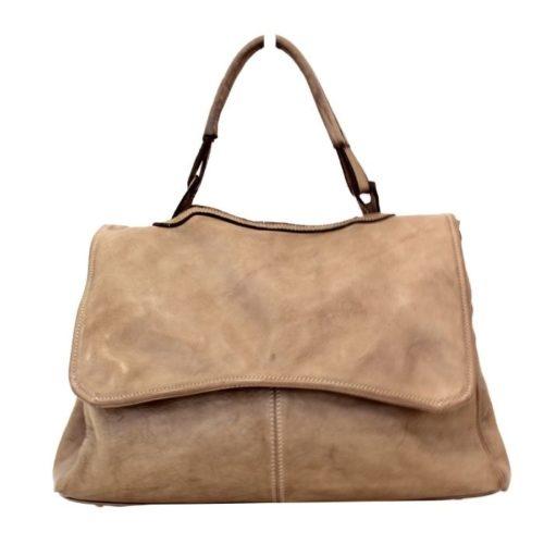 MIA Handbag With Curved Flap Light Taupe