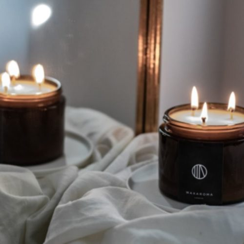 Leather Scented Candle Triple Wick In Amber Jar (500ml)