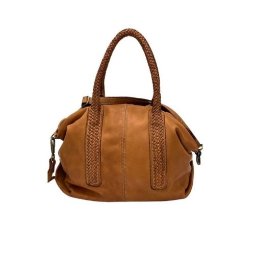 MADRID Smooth Leather Handbag With Woven Handles Tan