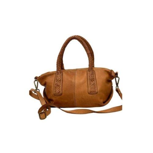 BABY MADRID Smooth Leather Handbag With Woven Handles Tan