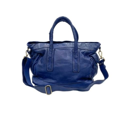 TOKYO Smooth Leather Handbag With Woven Handles Navy