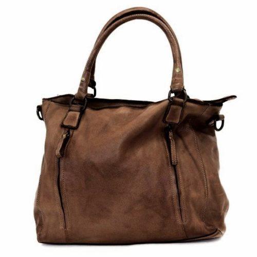 FLAVIA Square Handbag With 2 Zipped Pockets Dark Brown