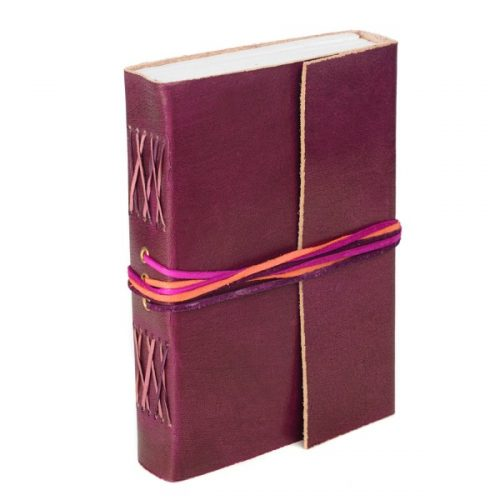 Fair Trade 3-String Leather Journal Plum